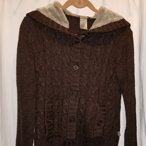 Brown Northface Hoodie Sweater
